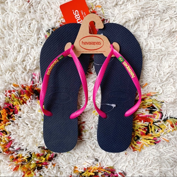 Havaianas Women`s Flip Flops Slim Native Sandal Black and Blue Sandals NWT